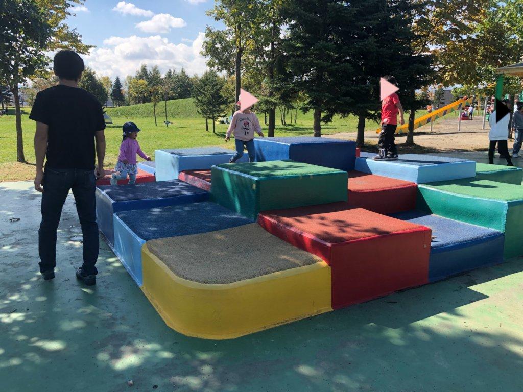 札幌屯田公園の幼児向けクッションブロック遊具