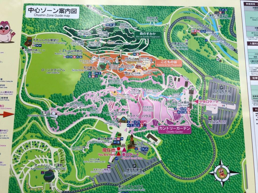 滝のすずらん公園の園内マップ